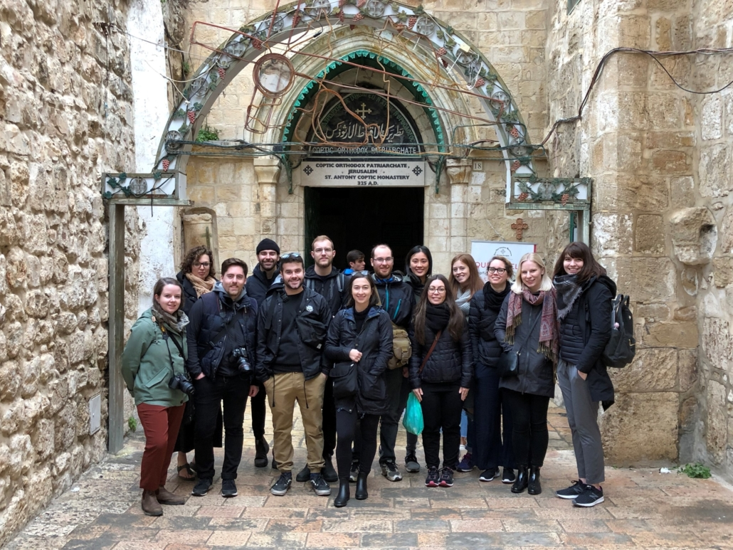 Canadian students outside of a church in Jerusalem as part of the Israeli section of the Azrieli Global Studio.