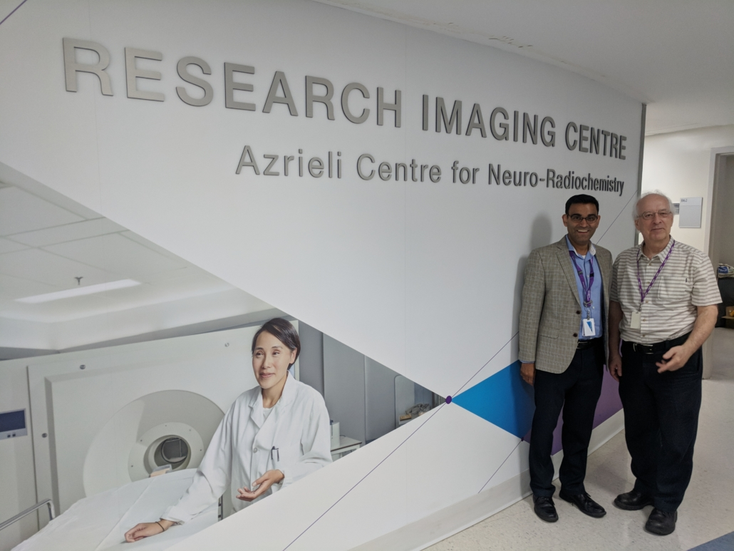 Dr. Neil Vasdev and Dr. Sylvain Houle at the CAMH brain imaging research centre.
