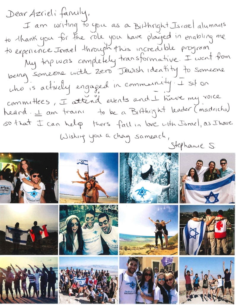A letter from a Birthright Israel leader, outlining her experience with the program.