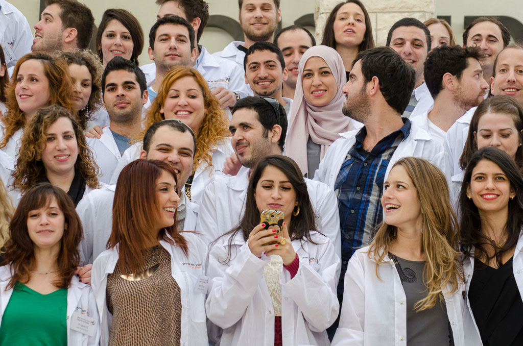 The Azrieli Faculty of Medicine of Bar-Ilan University students medical school posing for photograph